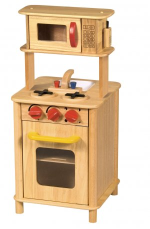 Guidecraft Toy Kitchenette Natural Wood Pretend Play Kitchen for Kids G97258