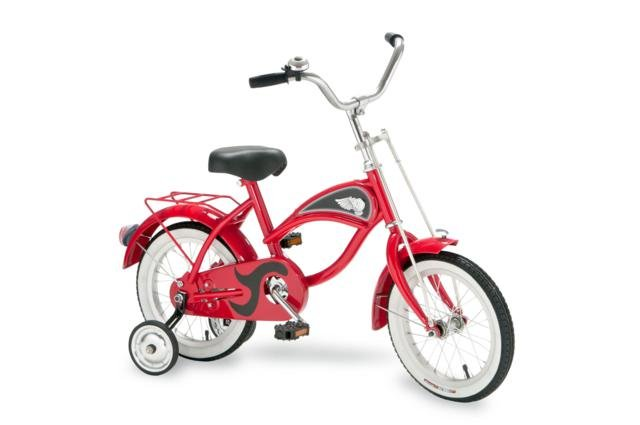 "Morgan Cycle Red Cruiser Bicycle With Training Wheels 14"" Ride on Steel Toy"