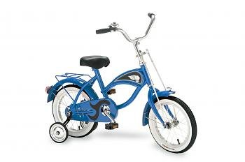 "Morgan Cycle Blue Cruiser Bicycle With Training Wheels 14"" Ride on Steel Toy"