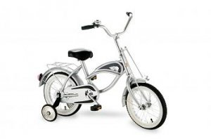 "Morgan Cycle Silver Cruiser Bicycle With Training Wheels 14"" Ride on Steel Toy"