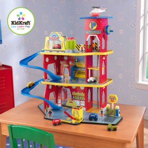Deluxe Garage Set With Cars & Helicopter Pretend Play Toy By Kidkraft 17481