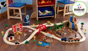 Farm Train Set Wooden Playset For Kids 3 & up Pretend Play Toy By KidKraft 17827