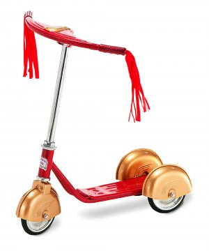 Red & Gold Steel Scooter 3 wheels Stands up Right With Adj Handlebar Girls Ride on Toy