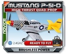 Mustang P51-D Large Scale EPO Version RTF RC Plane Electric Airplane New