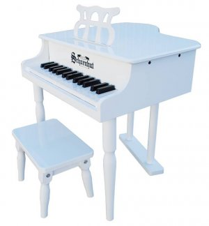 Kids White Baby Grand Piano & Bench & Learning System By Schoenhut 309W