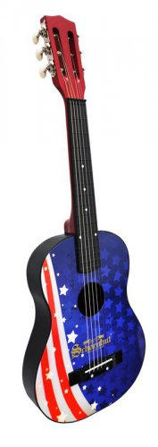 Kids Acoustic Guitar Flag Design W Bag Extra String & Pick 605FL By Schoenhut