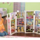 KidKraft Deluxe Townhouse Dollhouse W Furniture & 3 Mini Dolls Folds up