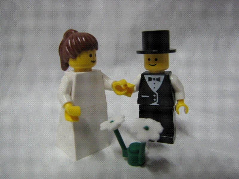 Lego BRIDE & GROOM Wedding Minifig Brown Hair PONYTAIL