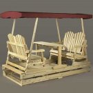 Rustic Natural Cedar Deluxe Garden Glider-Burgandy Top