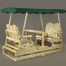 Rustic Natural Cedar Deluxe Garden Glider-Green Top