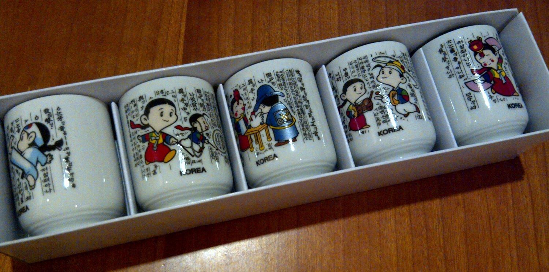 Korean Wine Glass Set (depicting five traditional korean activities)