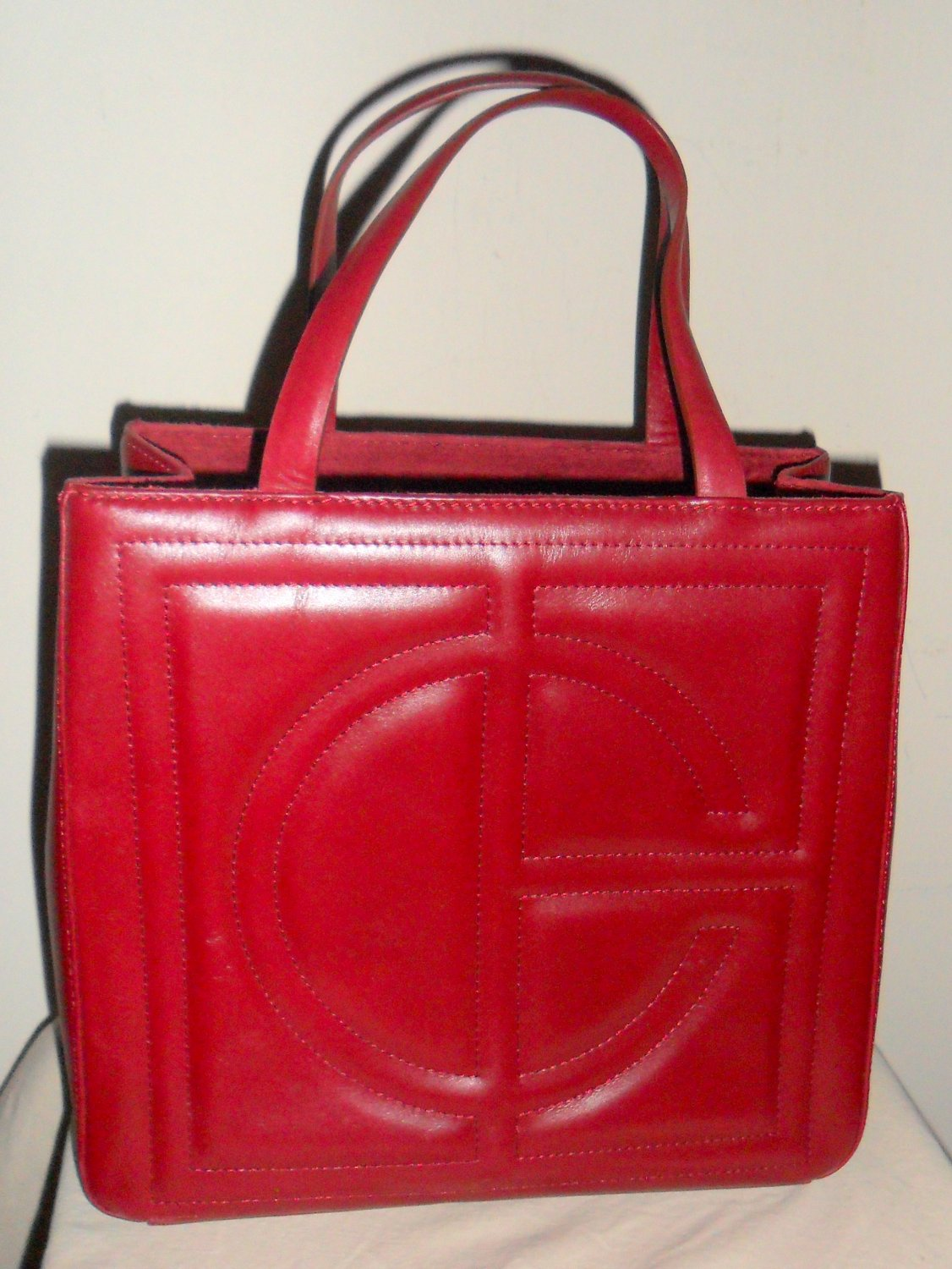 Cole Haan Red Monogram Quilted Tote Purse