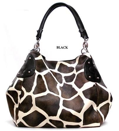 Large Giraffe Print Satchel Bag Handbag Purse