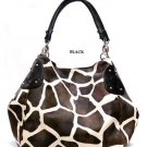 Large Giraffe Print Satchel Bag Handbag Purse