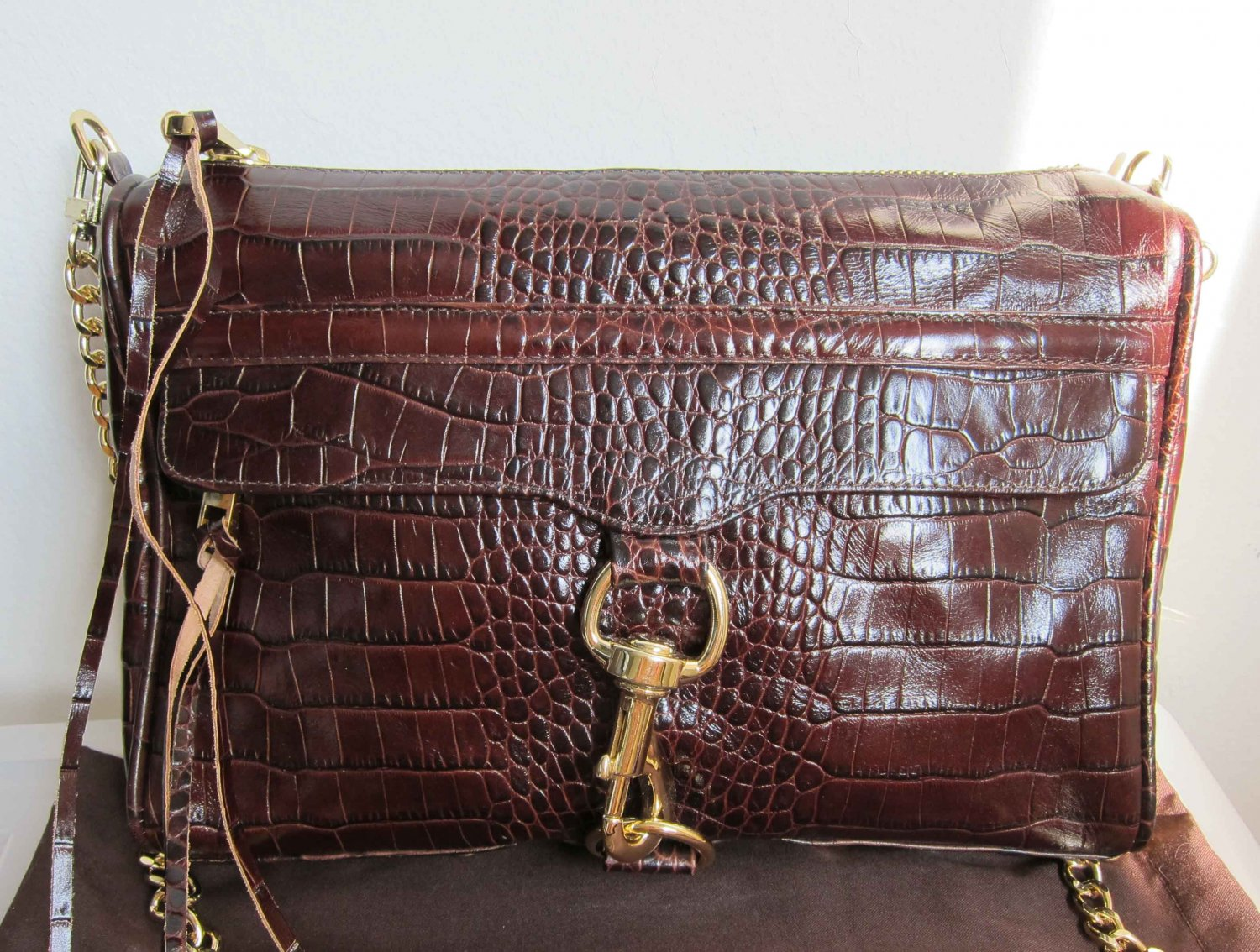 New Rebecca Minkoff Brown Croc Morning After Clutch MAC