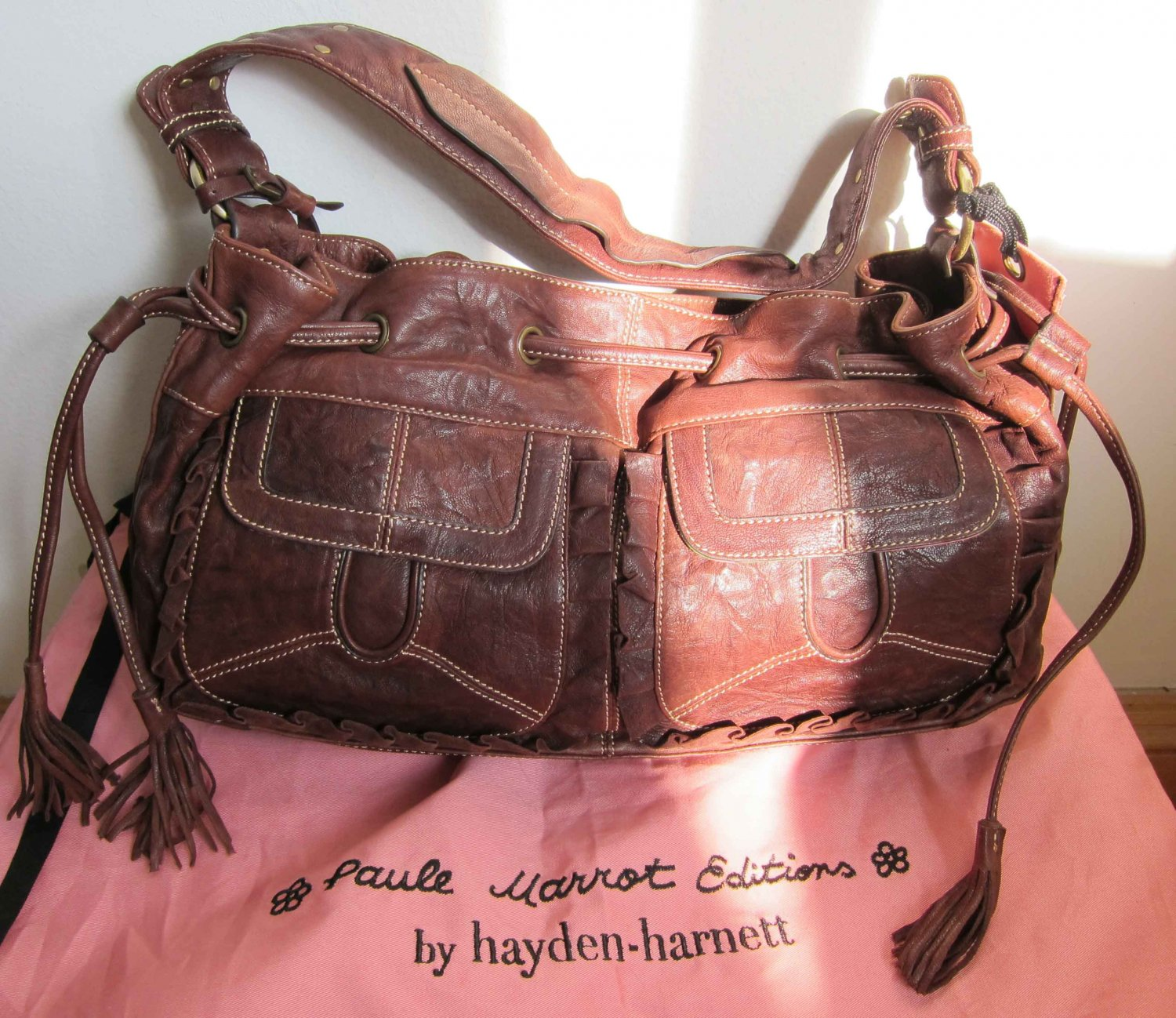 New Hayden-Harnett Paule Marrot Editions Nomade Ruffled Drawstring hobo