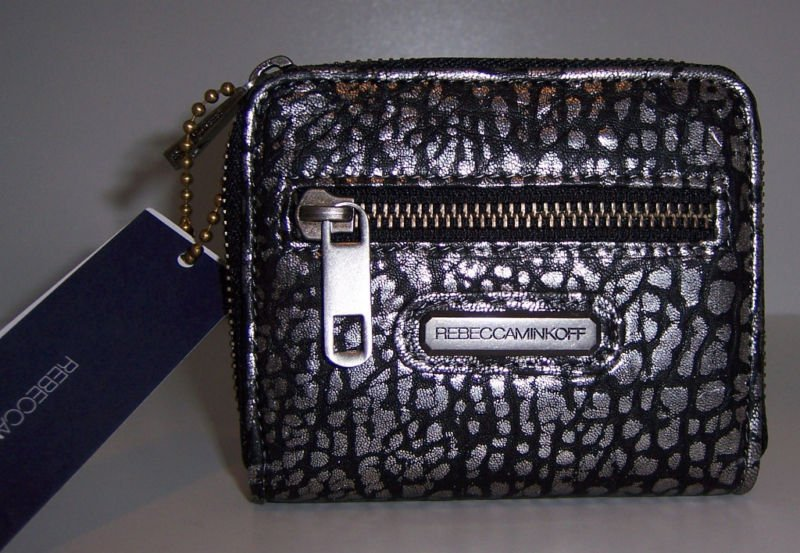 $125 REBECCA MINKOFF Small Zip Wallet -in Silver Blackwash NWT