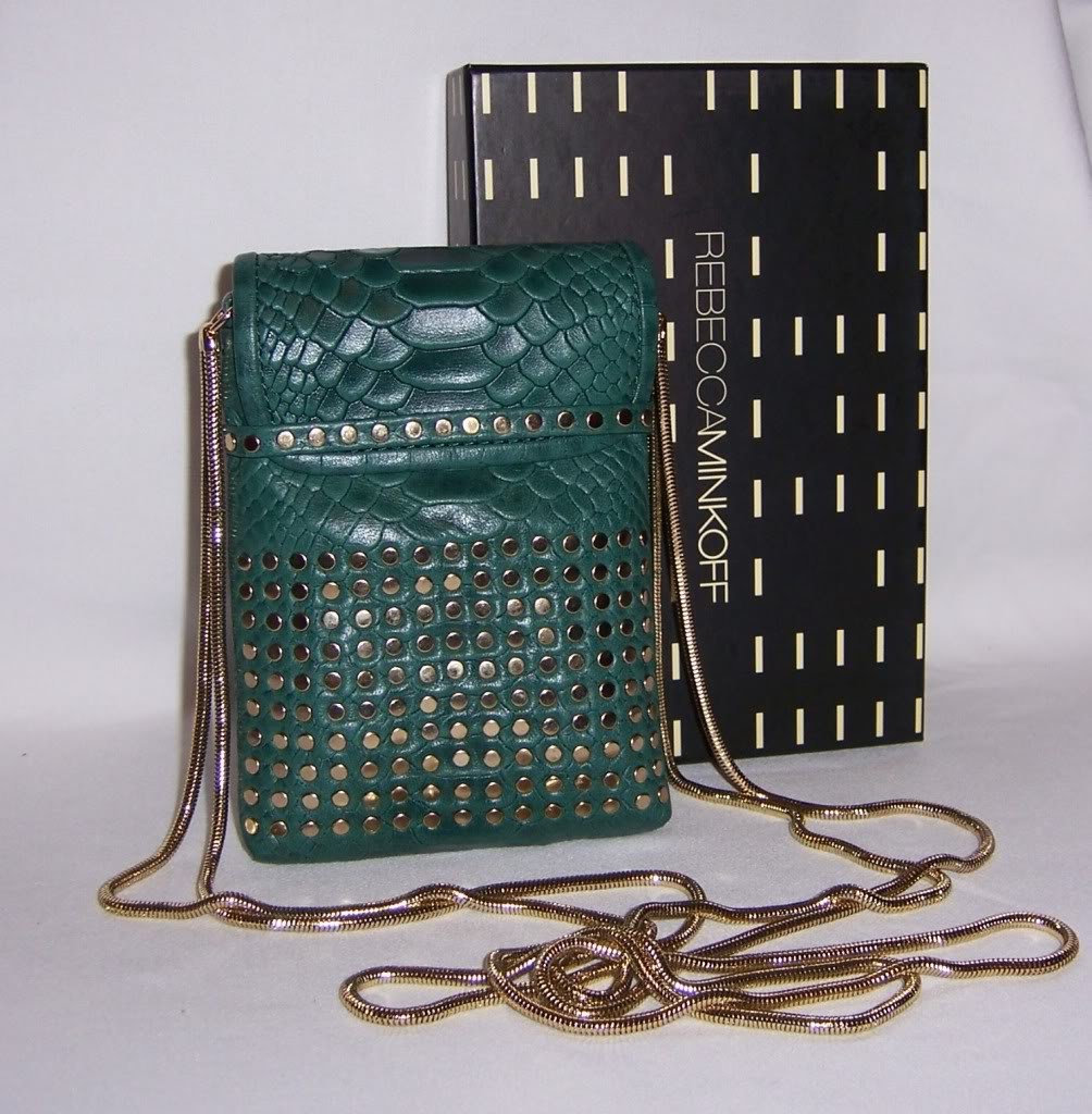 $145 REBECCA MINKOFF Tart Pouch/ Crossbody Bag -Teal Alligator NWT