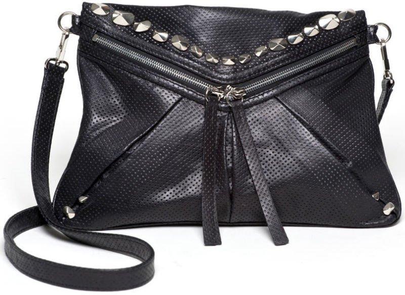 $365 -Treesje Jovi Cross-Body Bag -in Black Perforated Leather  NWT