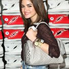 $495 Rebecca Minkoff  FLAME Quilted Satchel w/ 3D Cone Studs in Dove (Grey) NWT -Lucy Hale