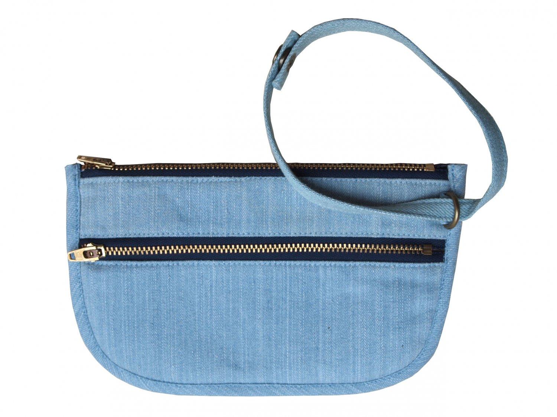 TonTubTim Duo zipper bag: Light Blue Jean-Red lining