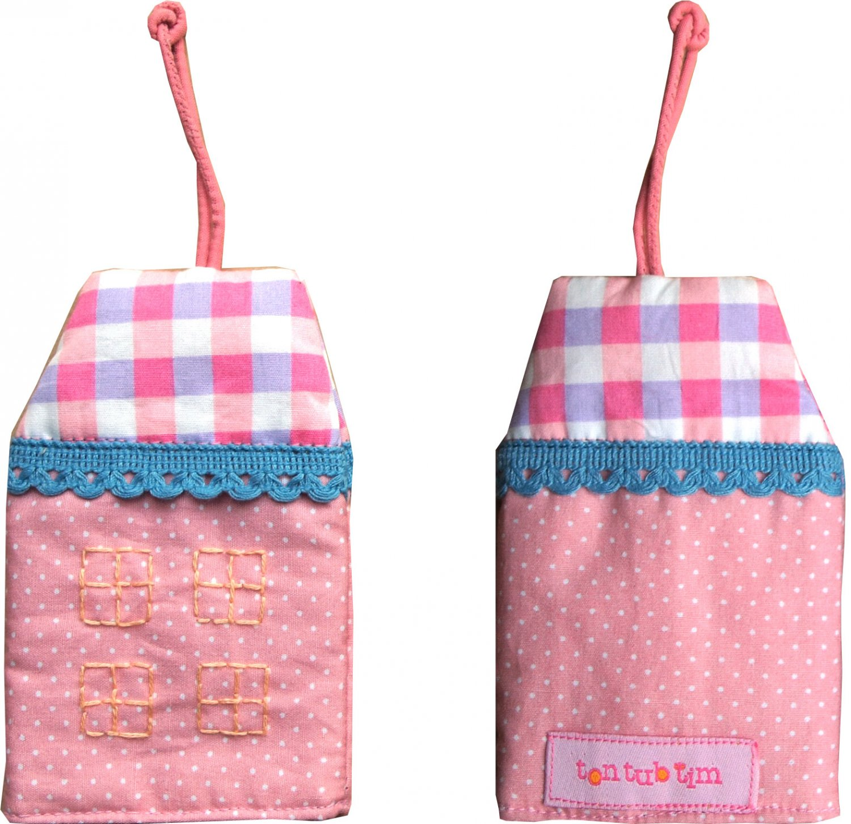TonTubTim Home Sweet Home Key Holder / Key Fob (size s): Light Pink