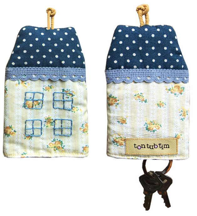 TonTubTim Home Sweet Home Key Holder / Key Fob (size s): Yellow