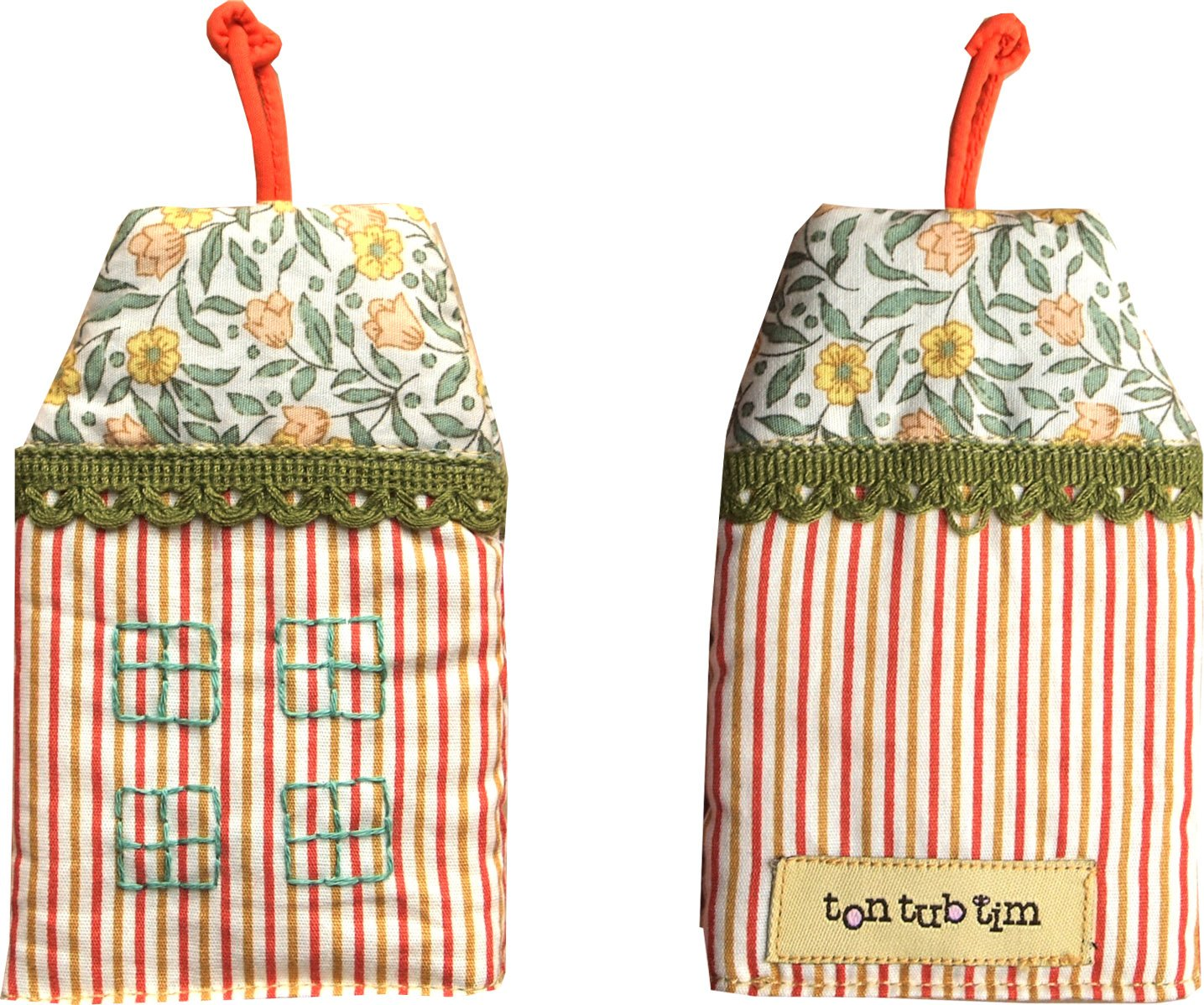 TonTubTim Home Sweet Home Key Holder / Key Fob (size s): Pin Stripe Orange