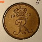 DENMARK 1963 5 ORE -- KM848.1 -- UNCIRCULATED