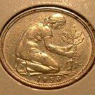 GERMANY 1950-D 50 Pfennig -- KM 109.1 -- AU