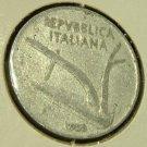 ITALY 1955-R 10 Lire -- KM93 -- XF -- Wheat Plow