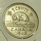 CANADA 1940 5 Cents -- XF -- Beaver