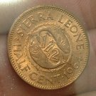 SIERRA LEONE 1964 1/2 Cent -- KM16 -- Red UNC -- Fish 1 yr type!