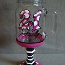 Glass Drink Mug On Pedestal With Handle 21 Finally NEW