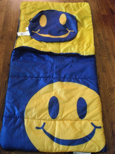 Smiley Face Sleeping Bag With Tote Carry Bag