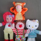 T64 Handpuppets Lot of 4 Talking Doll,Hello Kitty,Tigger,Ikea Clown