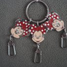 Disney Minnie Mouse Metal Keyring Triple Head