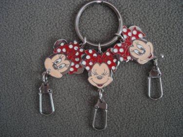 Disney Minnie Mouse Metal Keyring Triple Head