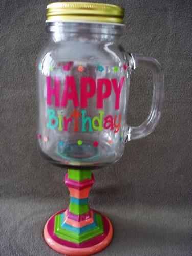 Glass Drink Mug On Pedestal With Handle Happy Birthday NEW(3)