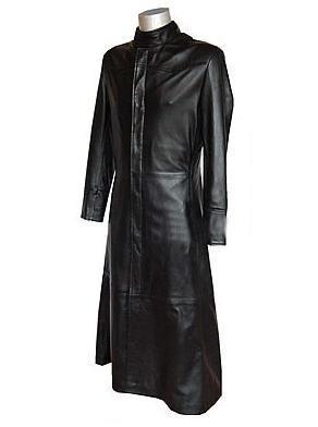 Matrix Movie Coat - Black Long Trench Leather Jacket