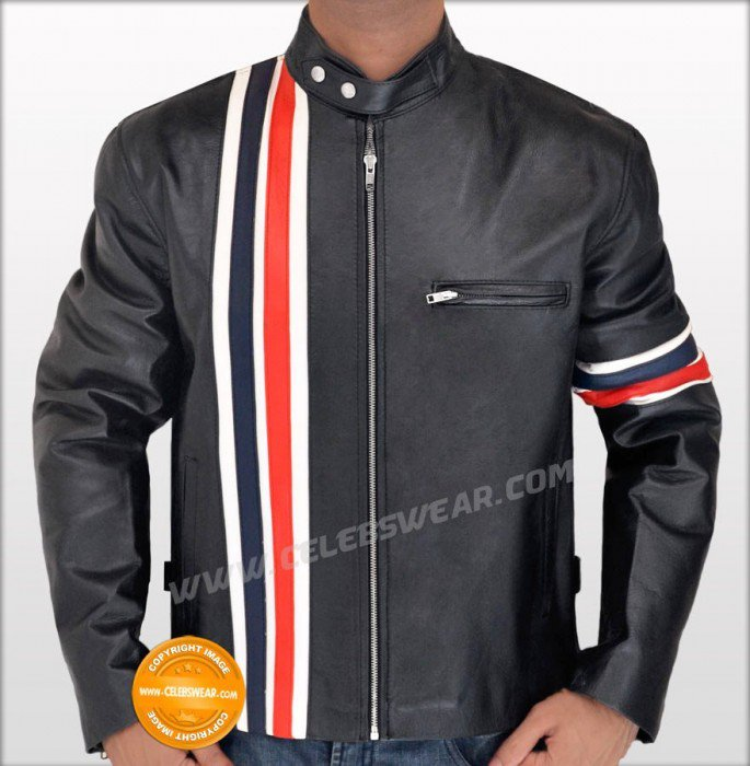 Peter Fonda Easy Rider Wyatt Black Leather Jacket