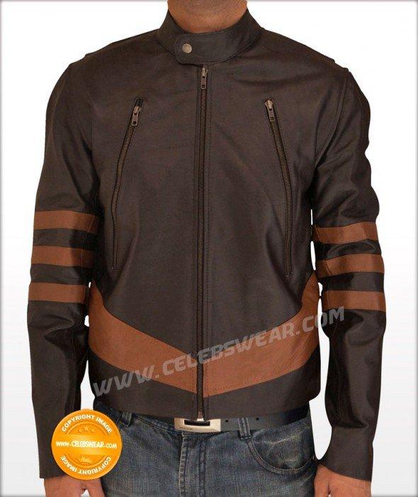 X Men Wolverine Logans Brown Zipper Leather Jacket