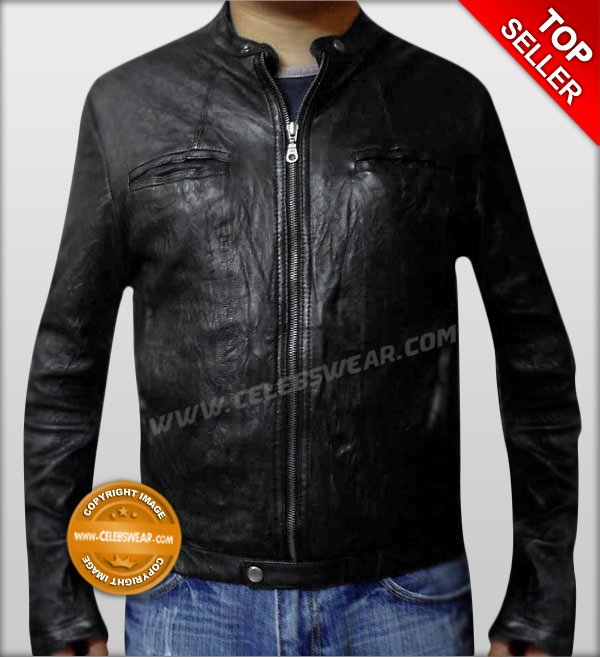 Wrinkle OBLOW Leather Jacket Zac Efron 17 Again Movie