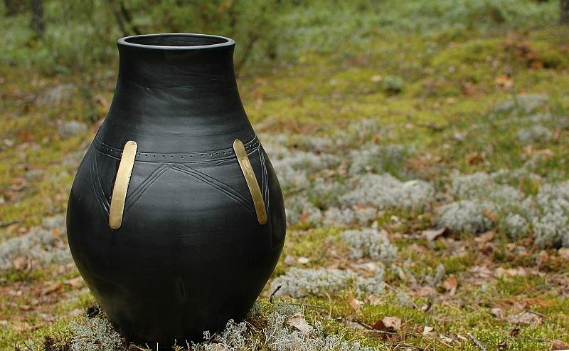 Baltic BLACK CERAMICS hand made UNIQUE design eco vase urn - Limited Edition