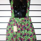 Green and Pink Floral Skirt with Suspenders