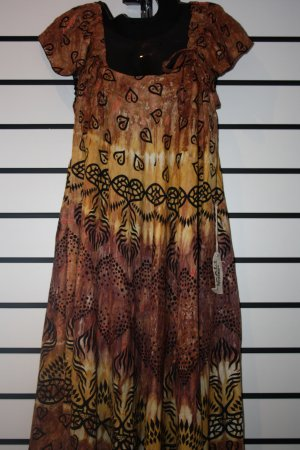 Brown and Yellow African Print Short Dress