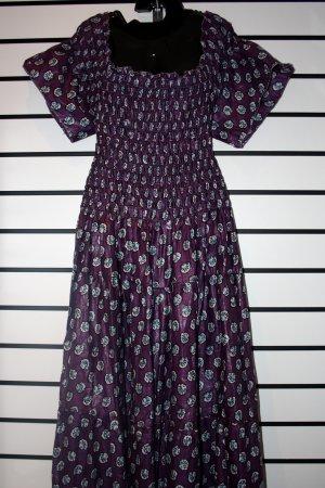 Purple Butterfly Sleeve Long Dress