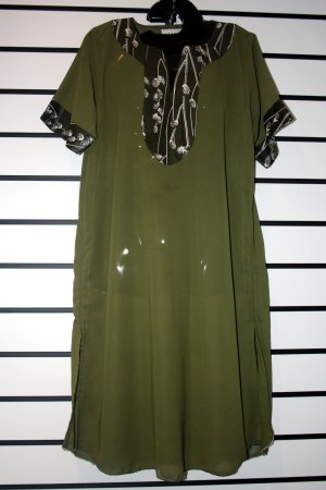 Olive Green Chiffon Short Dress