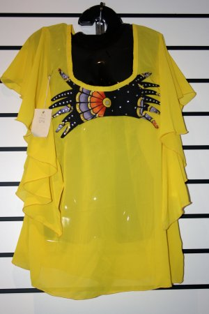 Yellow Chiffon/Ankara Butterfly Top