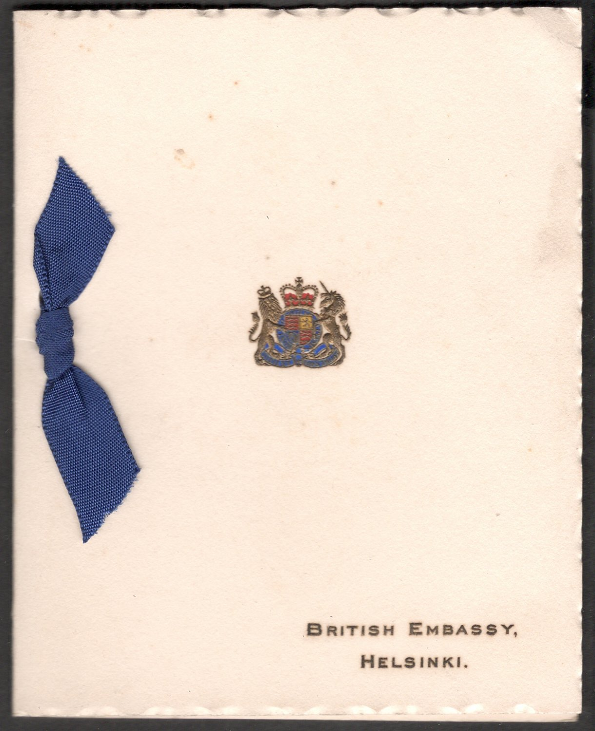 BRITISH EMBASSY ,HELSINKI CHRISTMAS GREETINGS  USED GREETING CARD RARE VINTAGE
